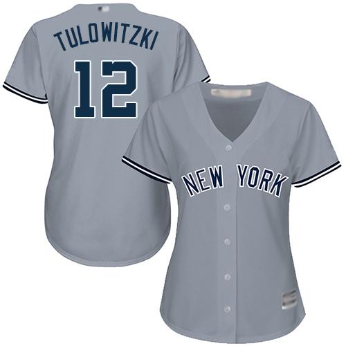 Yankees #12 Troy Tulowitzki Grey Road Women's Stitched MLB Jersey