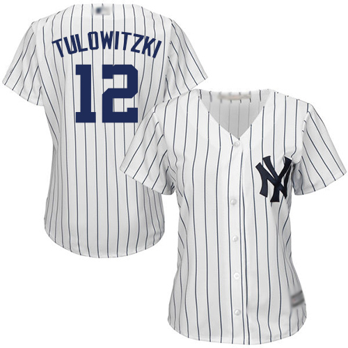 Yankees #12 Troy Tulowitzki White Strip Home Women's Stitched MLB Jersey
