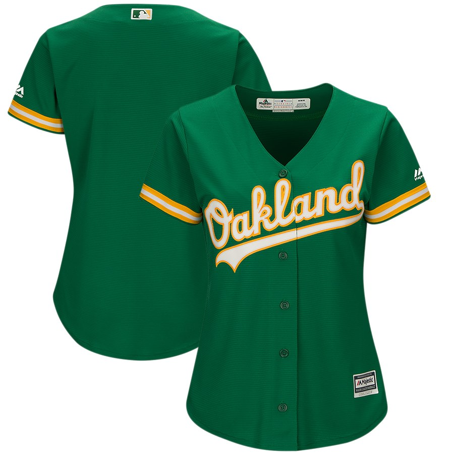 Women's Oakland Athletics Majestic Kelly Green Cool Base Team Jersey
