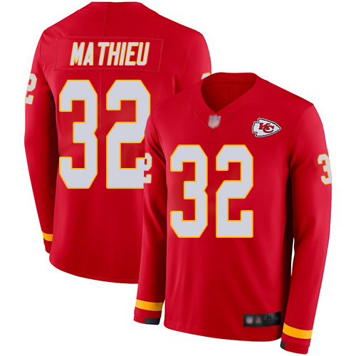 Nike Chiefs #32 Tyrann Mathieu Red Team Color Youth Stitched NFL Limited Therma Long Sleeve Jersey