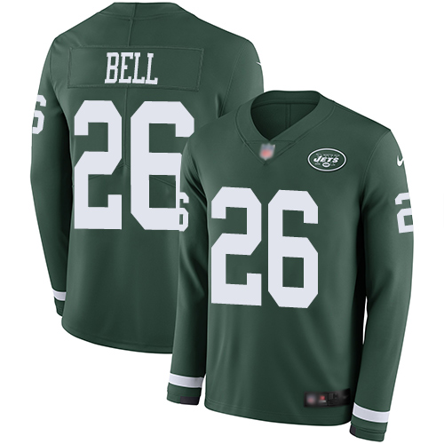 Nike Jets #26 Le'Veon Bell Green Team Color Youth Stitched NFL Limited Therma Long Sleeve Jersey