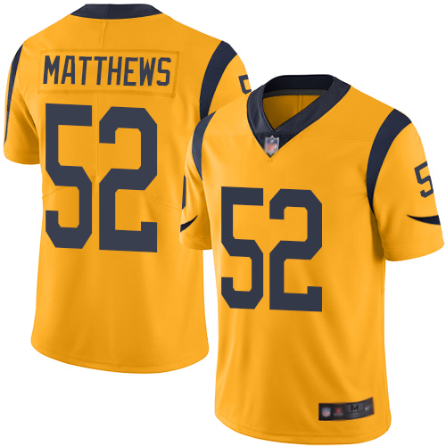 Nike Rams #52 Clay Matthews Gold Youth Stitched NFL Limited Rush Jersey