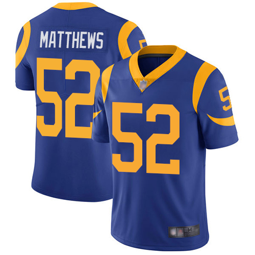 Nike Rams #52 Clay Matthews Royal Blue Alternate Youth Stitched NFL Vapor Untouchable Limited Jersey