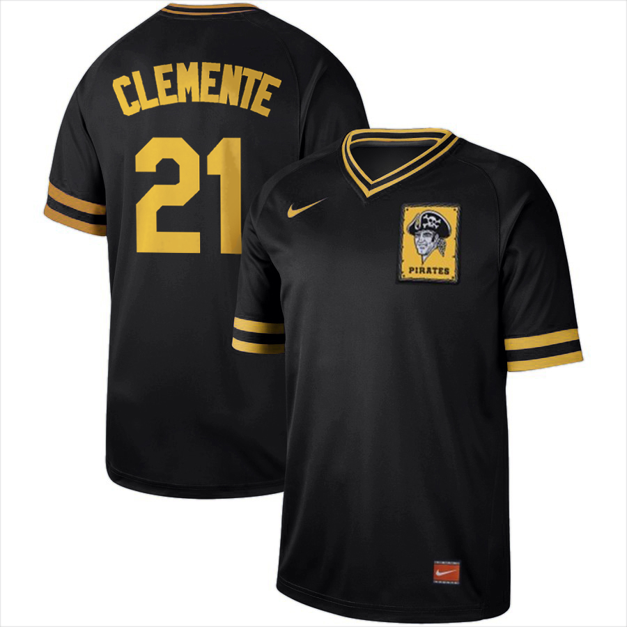 Pittsburgh Pirates #21 Roberto Clemente Nike Cooperstown Collection Legend V-Neck Jersey Black