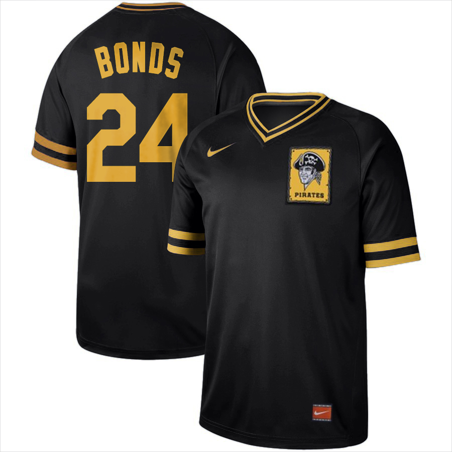 Pittsburgh Pirates #24 Barry Bonds Nike Cooperstown Collection Legend V-Neck Jersey Black