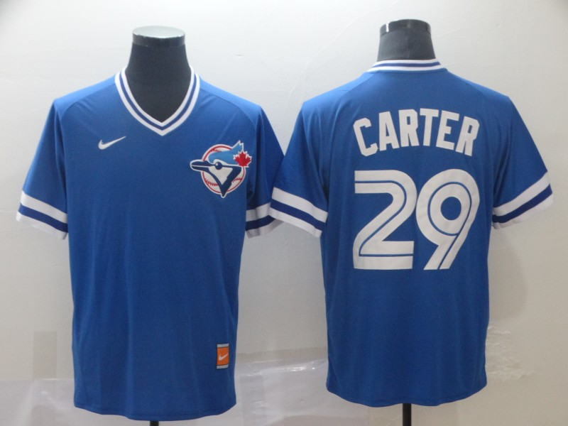 Blue Jays 29 Joe Carter Royal Throwback Jersey