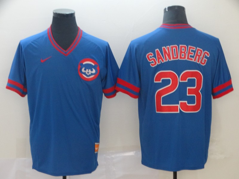 Cubs 23 Ryne Sandberg Blue Throwback Jersey