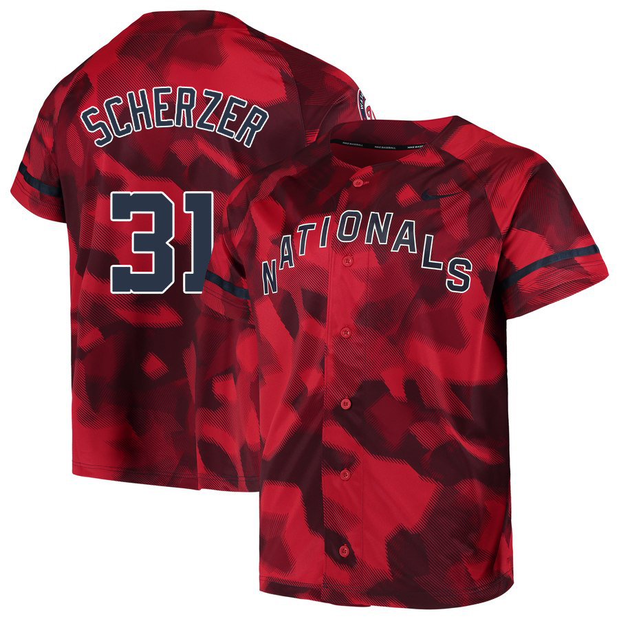Nationals 31 Max Scherzer Red Camo Fashion Jersey