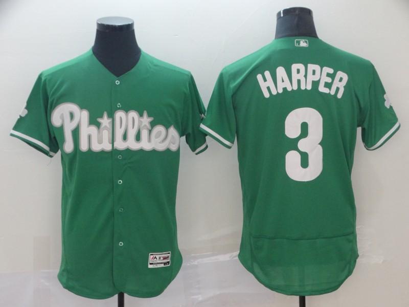 Phillies 3 Bryce Harper Green Flexbase Jersey