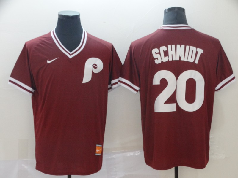 Phillies 20 Mike Schmidt Red Throwback Jersey