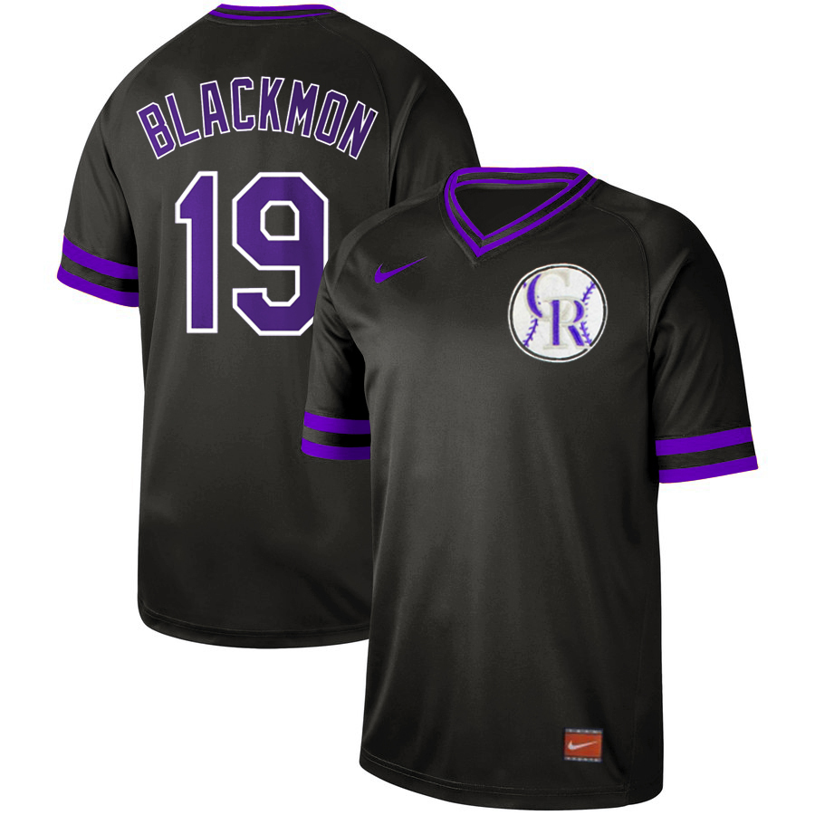 Rockies 19 Charlie Blackmon Black Throwback Jersey