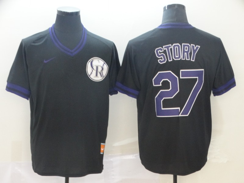 Rockies 27 Trevor Story Black Throwback Jersey