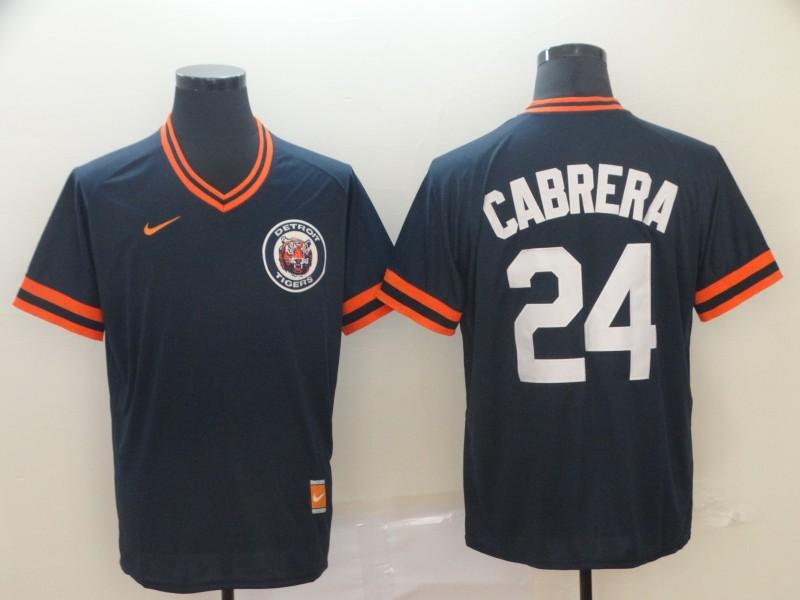 Tigers 24 Miguel Cabrera Navy Throwback Jersey
