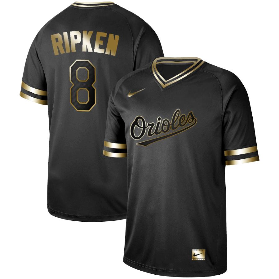 Orioles #8 Cal Ripken Jr Black Gold Nike Cooperstown Collection Legend V Neck Jersey