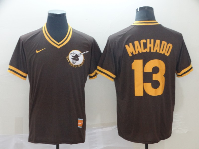 Padres #13 Manny Machado Brown Throwback Jersey