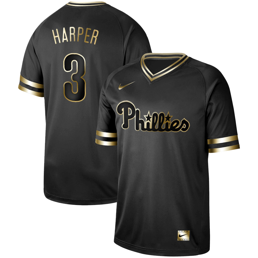 Phillies #3 Bryce Harper Black Gold Nike Cooperstown Collection Legend V Neck Jersey