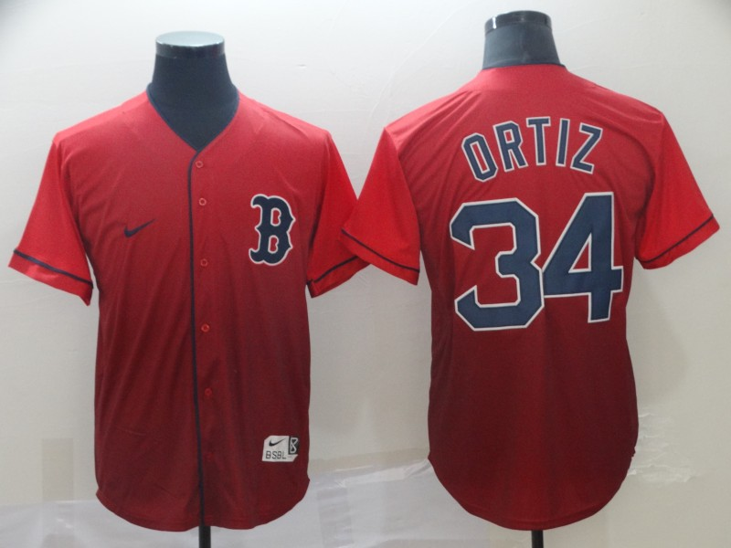 Red Sox #34 David Ortiz Red Drift Fashion Jersey
