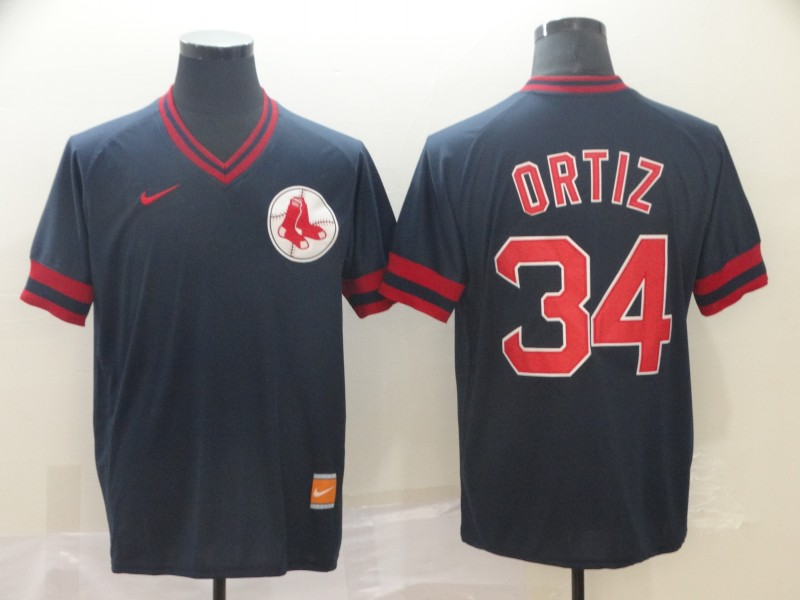 Red Sox #34 David Ortiz Black Throwback Jersey