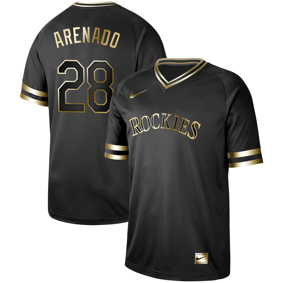 Rockies #28 Nolan Arenado Black Gold Nike Cooperstown Collection Legend V Neck Jersey