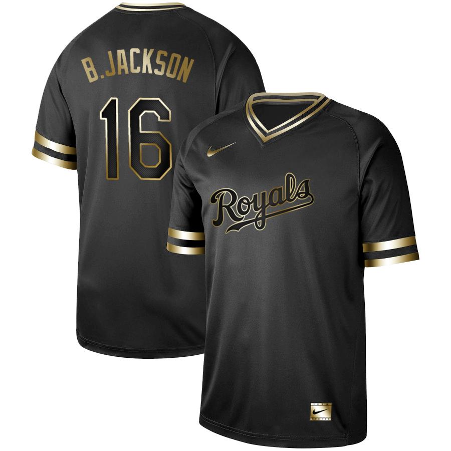 Royals #16 Bo Jackson Black Gold Nike Cooperstown Collection Legend V Neck Jersey