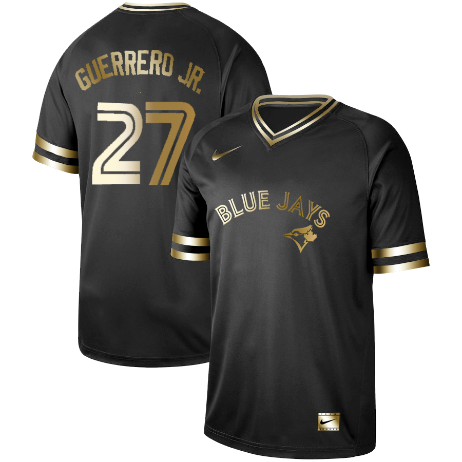 Blue Jays #27 Vladimir Guerrero Jr. Black Gold Nike Cooperstown Collection Legend V Neck