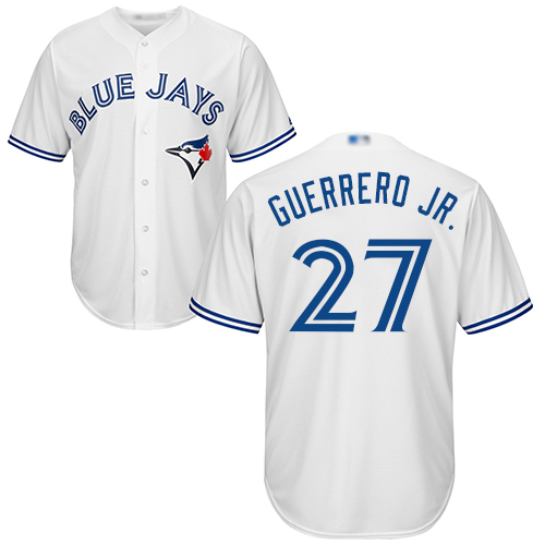 Men's Toronto Blue Jays #27 Vladimir Guerrero Jr. White Cool Base Authentic Collection Canada Day Stitched Baseball Jersey