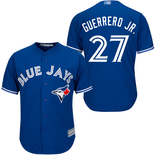 Men's Toronto Blue Jays #27 Vladimir Guerrero Jr. Blue Cool Base Authentic Collection Canada Day Stitched Baseball Jersey