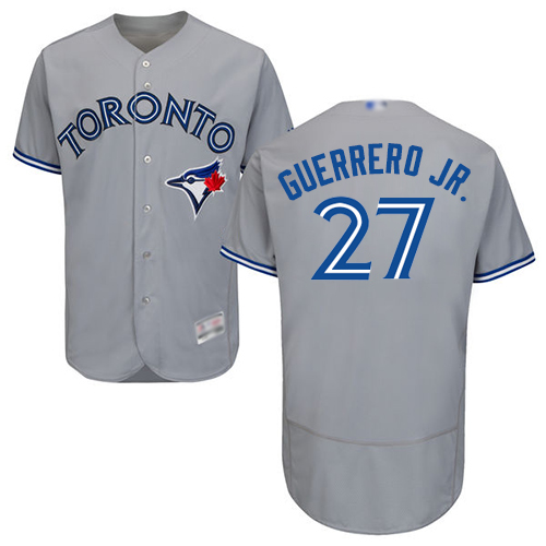 Men's Toronto Blue Jays #27 Vladimir Guerrero Jr. Grey Flexbase Authentic Collection Canada Day Stitched Baseball Jersey