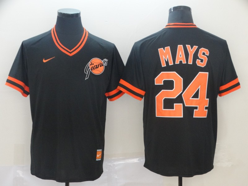 Giants #24 Willie Mays Black Throwback Jersey