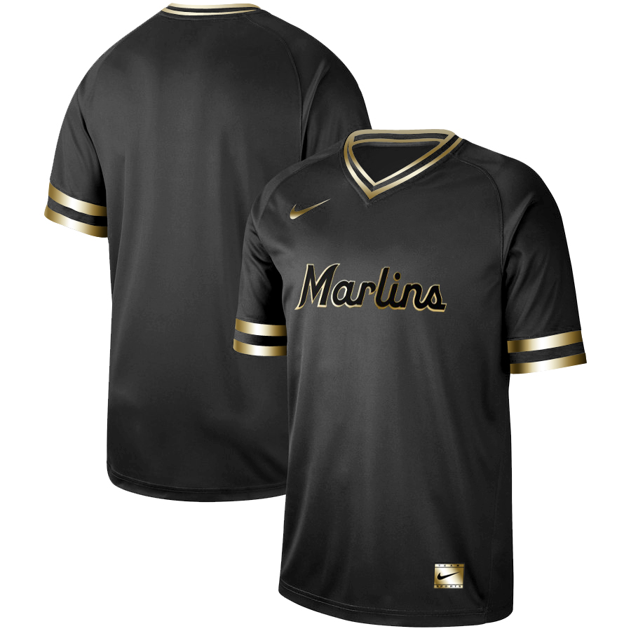 Marlins Blank Black Gold Nike Cooperstown Collection Legend V Neck Jersey