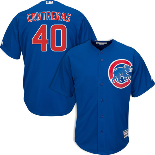 Men's Chicago Cubs #40 Willson Contreras Royal Blue Cool Base jersey