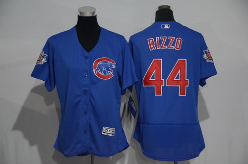 Women's Chicago Cubs #44 Anthony Rizzo Blue 2016 Flexbase Stitched Jersey
