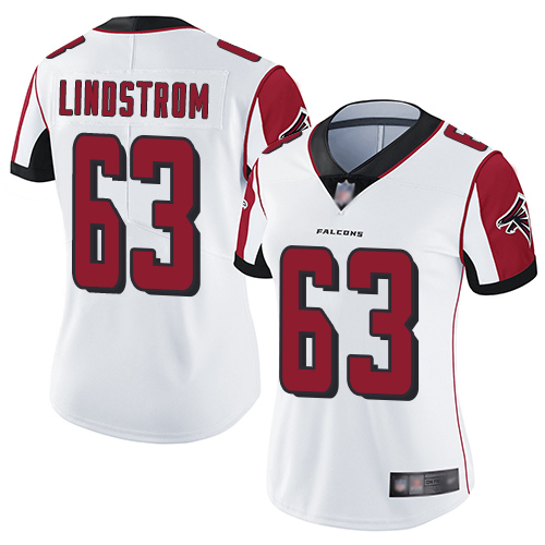 Falcons #63 Chris Lindstrom White Women's Stitched Football Vapor Untouchable Limited Jersey