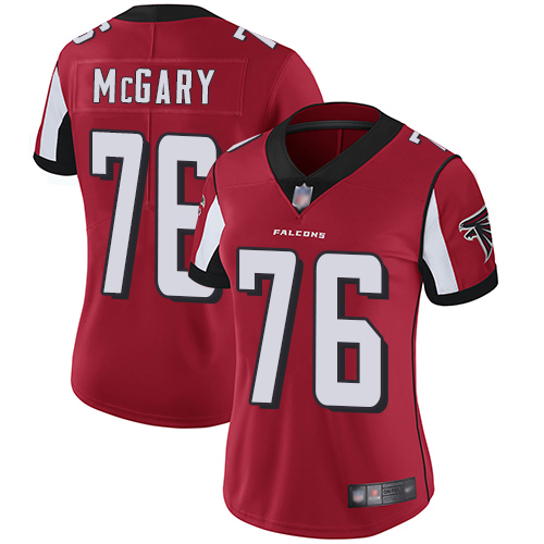 Falcons #76 Kaleb McGary Red Team Color Women's Stitched Football Vapor Untouchable Limited Jersey