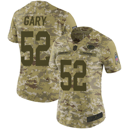 Packers #52 Rashan Gary Camo Women's Stitched Football Limited 2018 Salute to Service Jersey