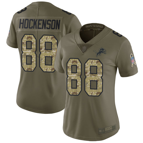 Lions #88 T.J. Hockenson Olive Camo Women's Stitched Football Limited 2017 Salute to Service Jersey