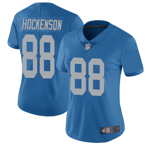 Lions #88 T.J. Hockenson Blue Throwback Women's Stitched Football Vapor Untouchable Limited Jersey