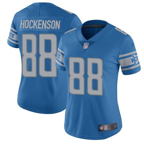 Lions #88 T.J. Hockenson Light Blue Team Color Women's Stitched Football Vapor Untouchable Limited Jersey