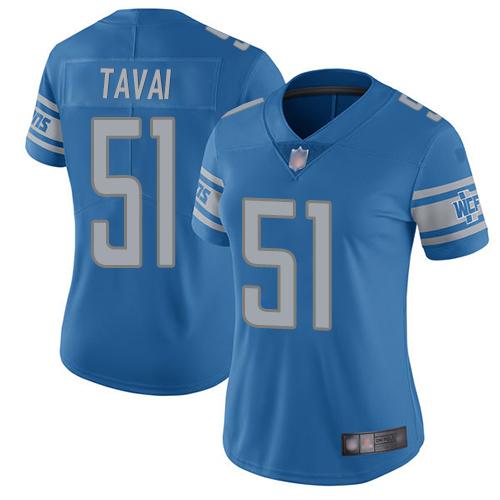 Lions #51 Jahlani Tavai Light Blue Team Color Women's Stitched Football Vapor Untouchable Limited Jersey