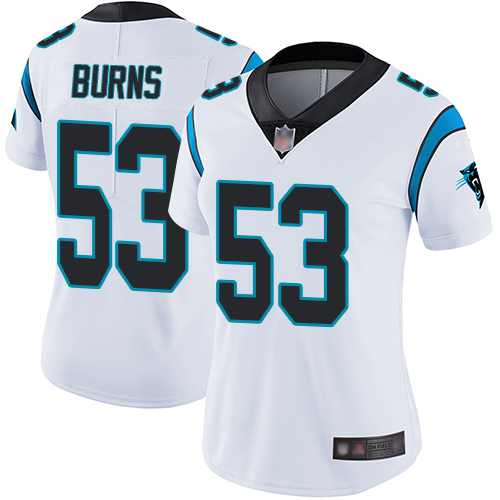 Panthers #53 Brian Burns White Women's Stitched Football Vapor Untouchable Limited Jersey