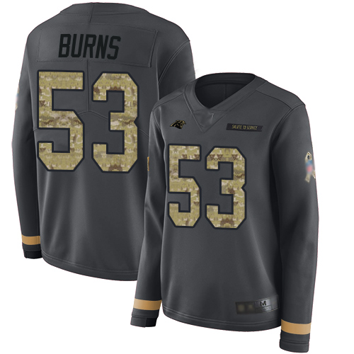 Panthers #53 Brian Burns Anthracite Salute to Service Women's Stitched Football Limited Therma Long Sleeve Jersey