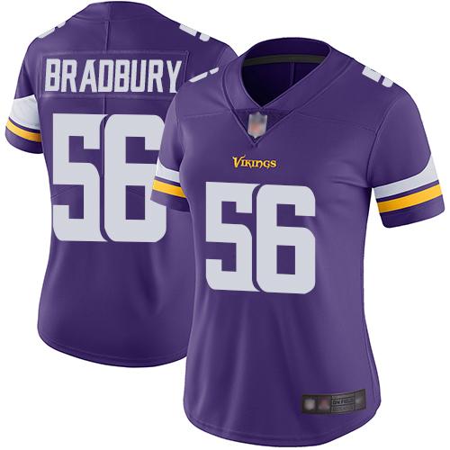 Vikings #56 Garrett Bradbury Purple Team Color Women's Stitched Football Vapor Untouchable Limited Jersey