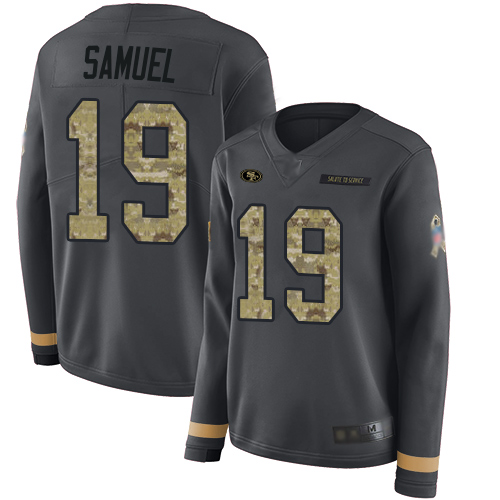 49ers #19 Deebo Samuel Anthracite Salute to Service Women's Stitched Football Limited Therma Long Sleeve Jersey