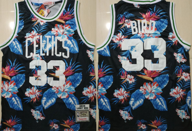 Celtics Bape 33 Larry Bird Black 1985-86 Hardwood Classics Floral Fashion Swingman Jersey