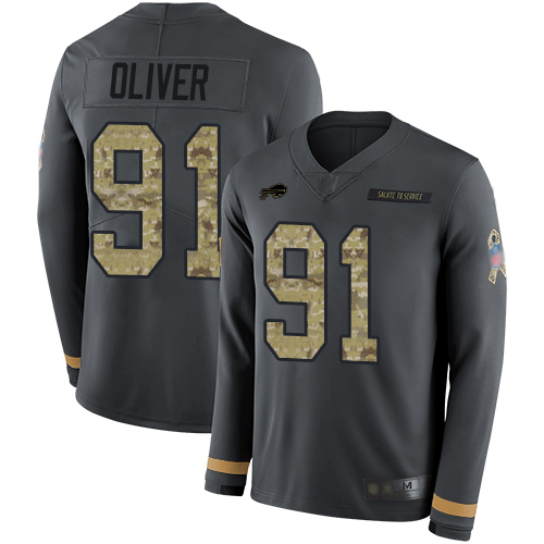 Bills #91 Ed Oliver Anthracite Salute to Service Youth Stitched Football Limited Therma Long Sleeve Jersey