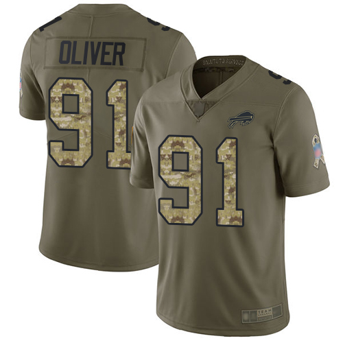 Bills #91 Ed Oliver Olive Camo Youth Stitched Football Limited 2017 Salute to Service Jersey