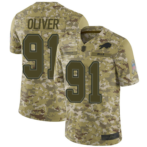 Bills #91 Ed Oliver Camo Youth Stitched Football Limited 2018 Salute to Service Jersey