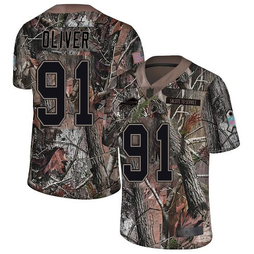 Bills #91 Ed Oliver Camo Youth Stitched Football Limited Rush Realtree Jersey