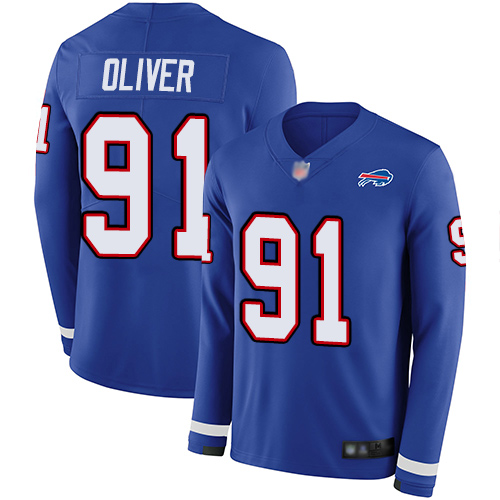 Bills #91 Ed Oliver Royal Blue Team Color Youth Stitched Football Limited Therma Long Sleeve Jersey