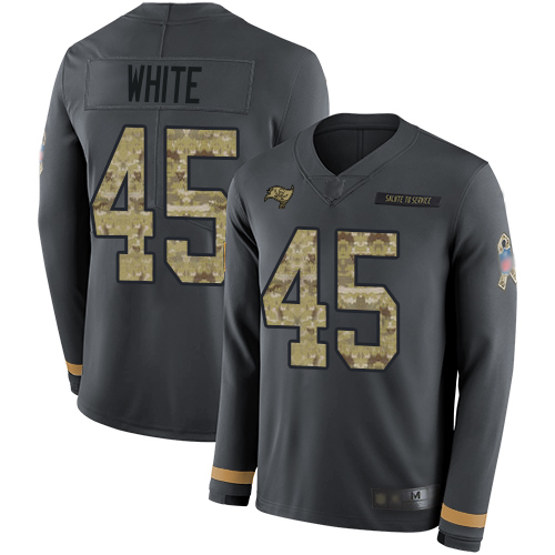 Buccaneers #45 Devin White Anthracite Salute to Service Youth Stitched Football Limited Therma Long Sleeve Jersey